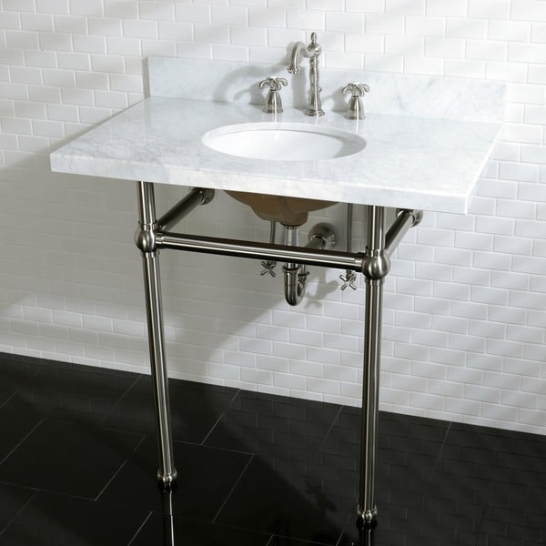 Vintage Carrara Marble 36-inch Console Sink with Metal Stand 18024413