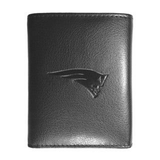 NFL Sports Team New England Patriots Embossed Tri-fold Black Leather Wallet