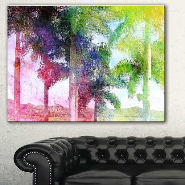Green Retro Palm Trees' Landscape Painting Canvas Print