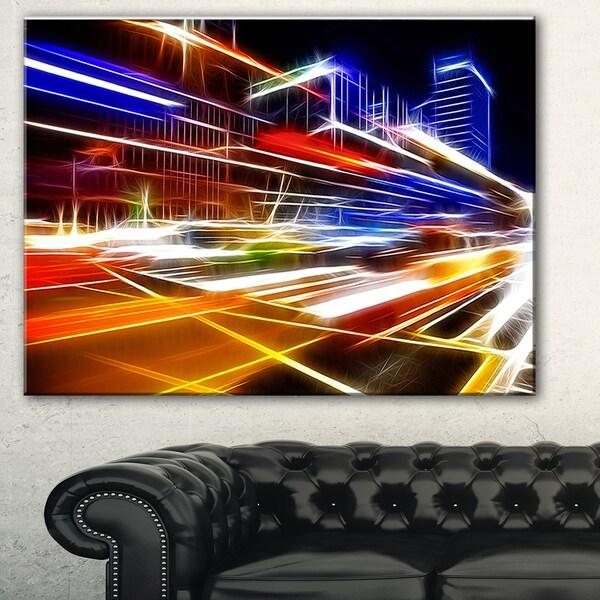 High Speed Traffic Trails' Cityscape Digital Art Canvas Print