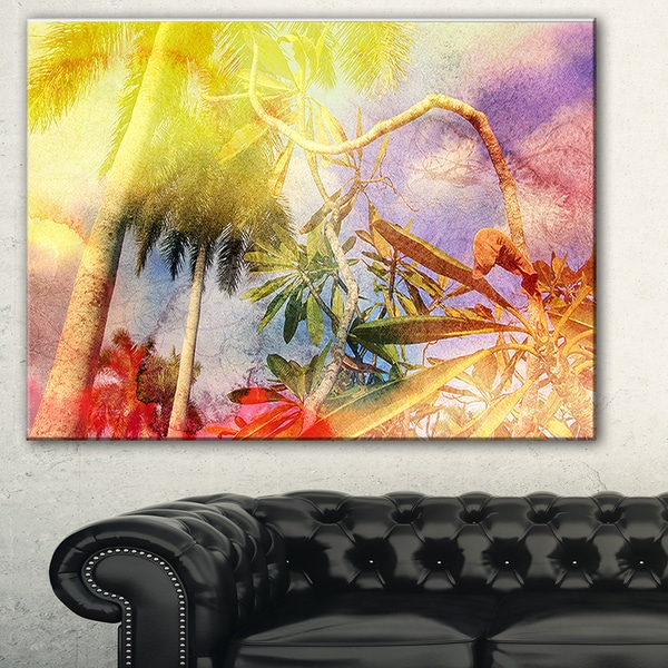 Yellow Retro Palm Trees' Landscape Painting Canvas Print