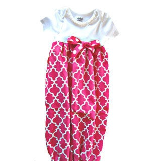 Newborn Hot Pink/ White Lattice Layette Gown Set
