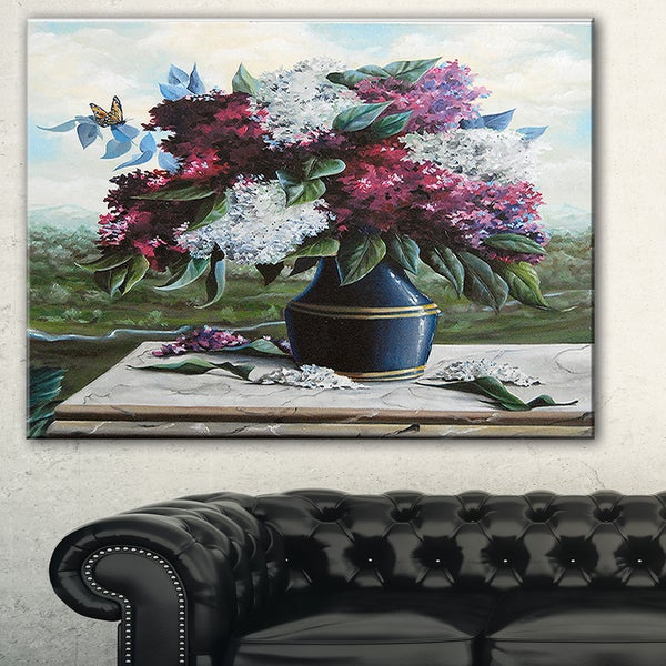 Lilac in Blue Jug' Floral Digital Art Canvas Print