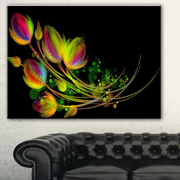 Bright Bouquet' Digital Art Floral Canvas Print