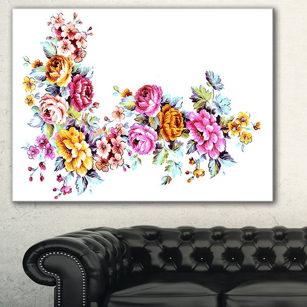 Yellow and Pink Flowers' Modern Floral Art Canvas Print