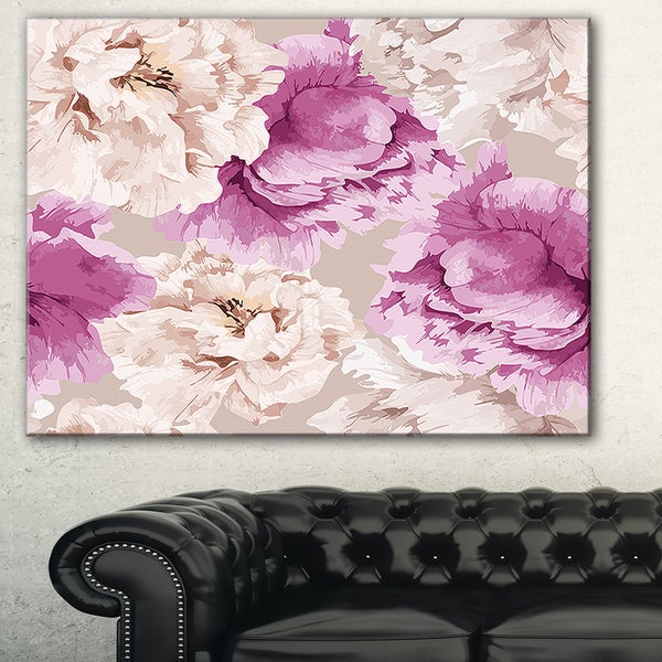 Peony Floral Pattern' Floral Art Canvas Print
