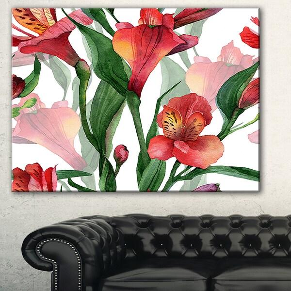Red Floral Pattern Art' Floral Art Canvas Print