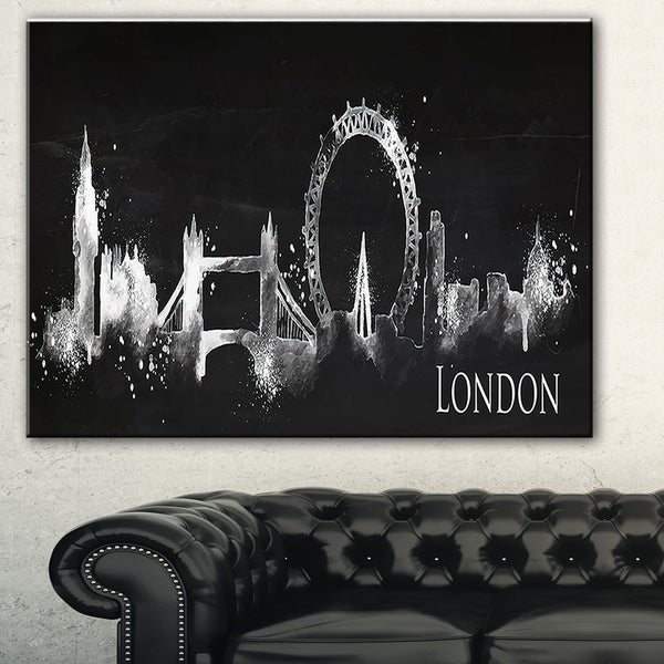 London Dark Silhouette' Cityscape Painting Canvas Print