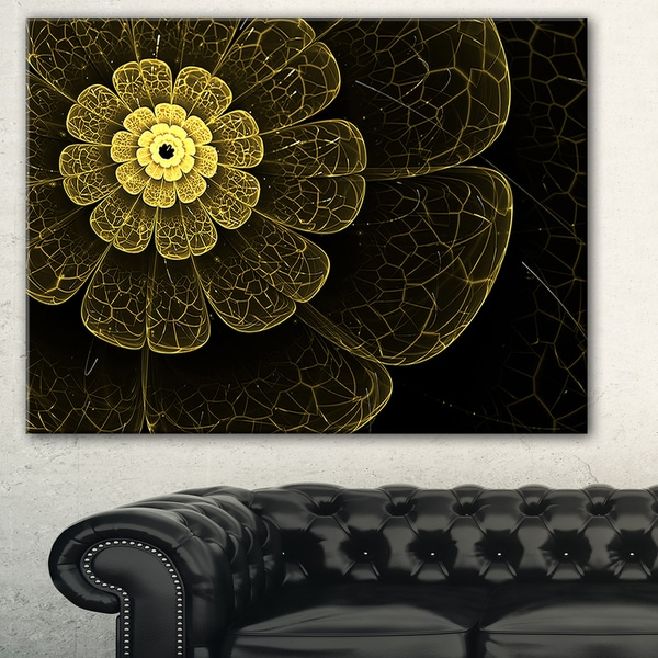 Light Yellow Metallic Fabric Flower' Digital Art Canvas Print
