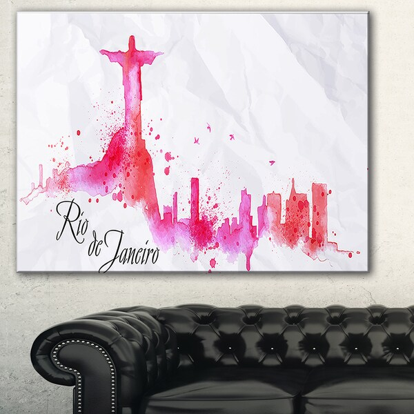 Rio de Janeiro Red Silhouette' Cityscape Painting Canvas Print