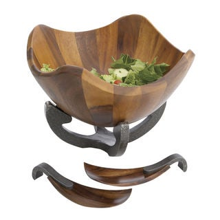 Nambe Anvil Scroll Wood Salad Bowl with Servers