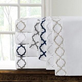 Echelon Home Hotel Collection Quatrefoil Embroidery Cotton Sateen Sheet Set