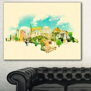 Athens Panoramic View' Cityscape Watercolor Canvas Print