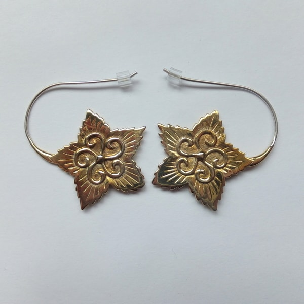 Brass Flower Hook Earrings (Bali)