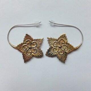 Brass Flower Hook Earrings (Bali)