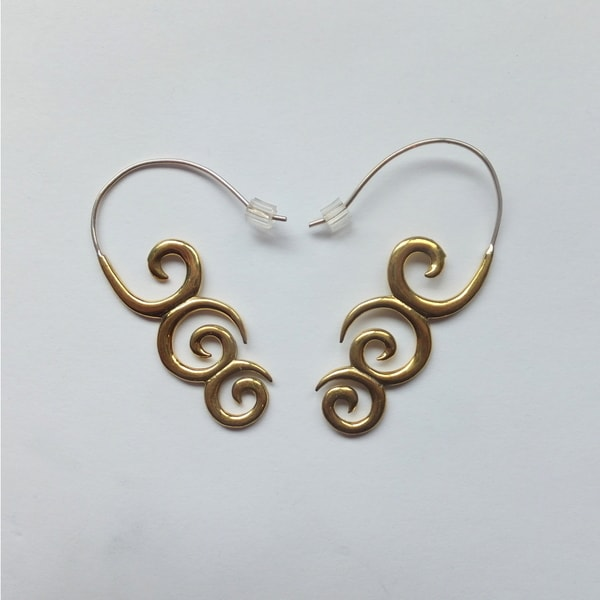 Three Swirl Hook Earrings (Indonesia)