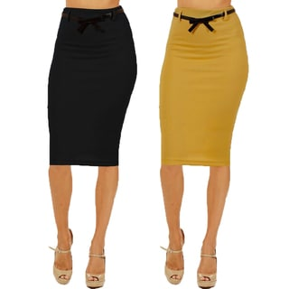 Women's High Waist Below Knee Black/ Mustard Pencil Skirts (Pack of 2)