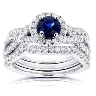 Annello 14k White Gold Round Sapphire and 7/8ct TDW Halo Diamond Criss Cross 3 Piece Bridal Set (G-H, I1-I2)