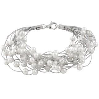 Sterling Silver Braided Freshwater Pearl Threaded Bracelet (6-7mm)
