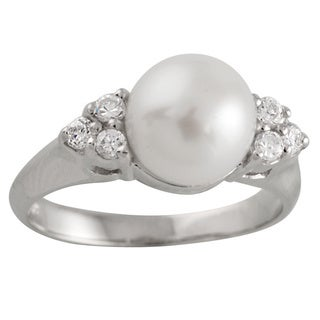 Sterling Silver Triple Cubic Zirconia and Fancy Pearl Ring (8-9mm)