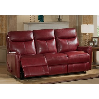 Napa Top Grain Leather Lay-Flat Reclining Sofa with Memory Foam Seating