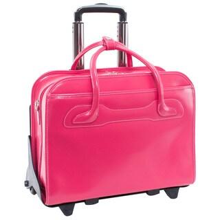 McKlein Willowbrook Fuchsia Leather Detachable-wheeled 17-inch Laptop Briefcase