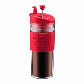 Bodum 11100-294BUS Insulated Plastic Red 15 Ounce Travel French Press Coffee and Tea Mug