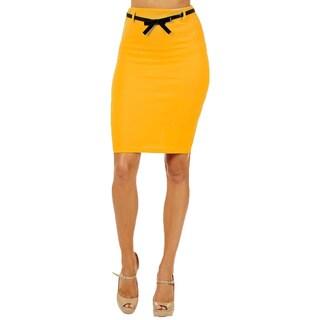 Women's High Waist Yellow Pencil Skirt