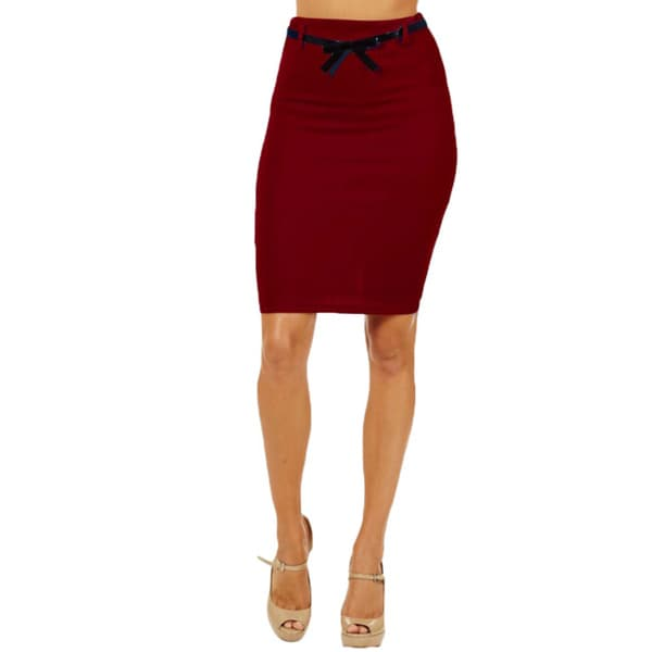 Women's High Waist Red Pencil Skirt
