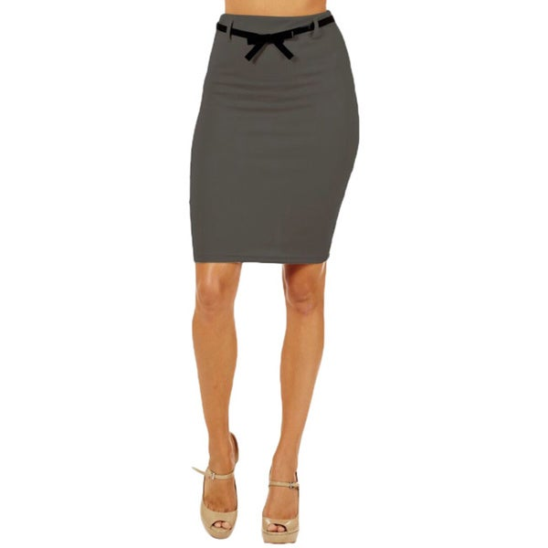 Women's High Waist Dark Grey Pencil Skirt