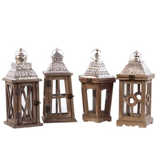 Wooden Square Lanterns with Various Designs (Assortment of Four)