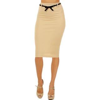 Women's High Waist Below Knee Sand Pencil Skirt