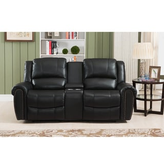 Houston Black Leather Recliner Loveseat with Cupholders and USB Port