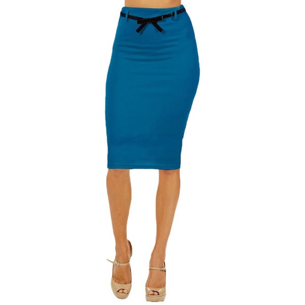 Women's High Waist Below Knee Turquoise Pencil Skirt