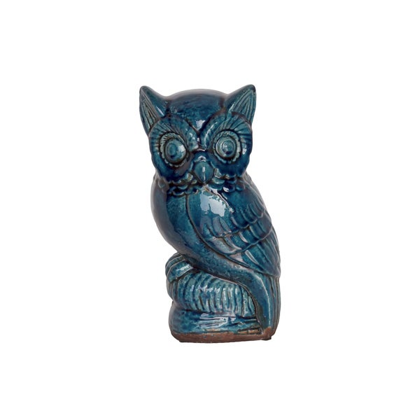 Midnight Blue Ceramic Owl Figurine
