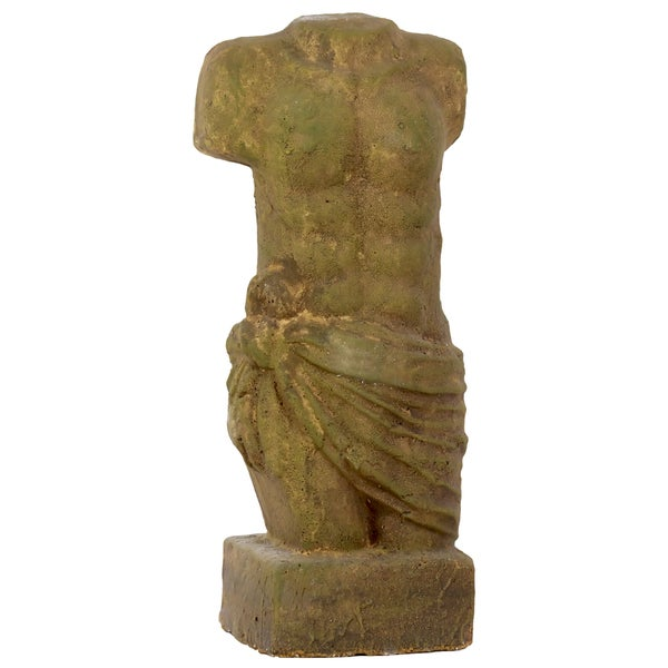 Stoneware Male Torso Bust Moss on Concrete Finish Bronze