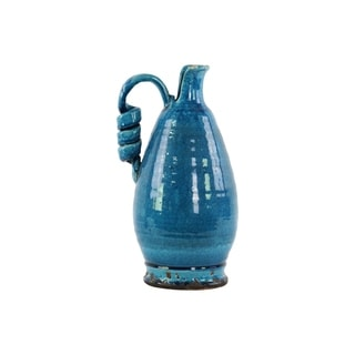 Ceramic Tuscan Vase with Handle Distressed with Craquelure Gloss Finish Marine Blue