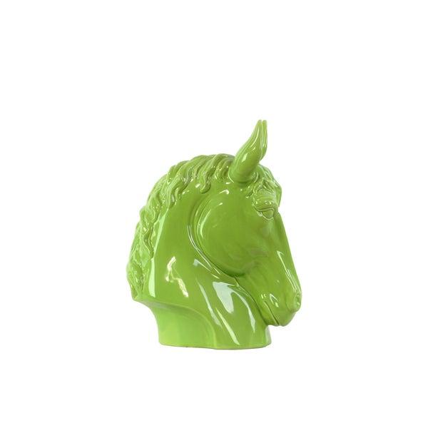 Ceramic Small Gloss Finish Green Horse Head