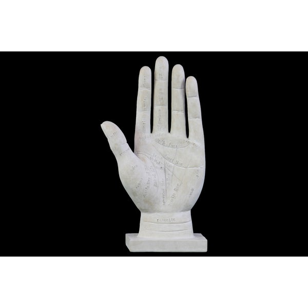 Polyresin Palmistry Hand Sculpture on Base with Engraved Labels