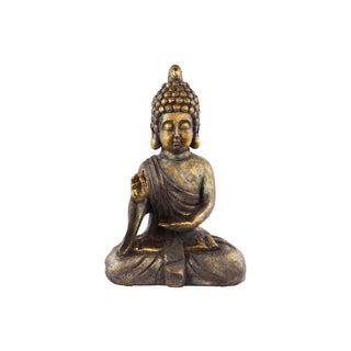 Tarnished Gold Polyresin Meditating Buddha Figurine with Rounded Ushnisha in Varada Mudra