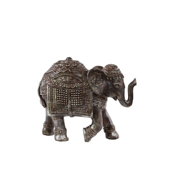 Small Distressed Polyresin Trumpeting Ceremonial Elephant Figurine
