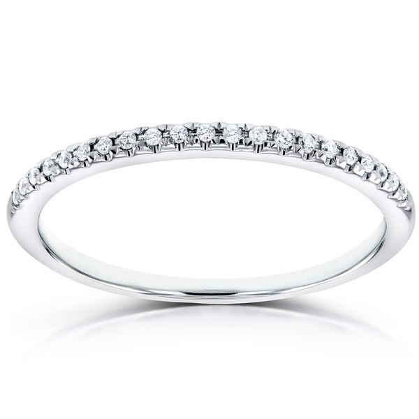 Annello 14k White Gold Round Diamond Petite Womens Band (H-I, I1-I2)