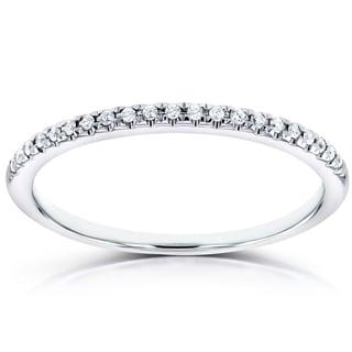 Annello 14k White Gold Round Diamond Petite Womens Band (H-I, I1-I2)