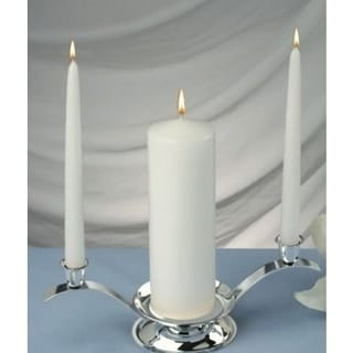 Set of Three White Unity Candles, 1 Pillar and 2 Taper Candles