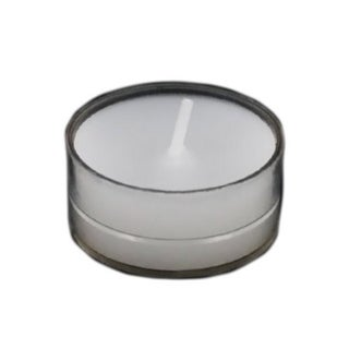 Set of 50 White Unscented Tealight Candles In Clear Cups 18026306