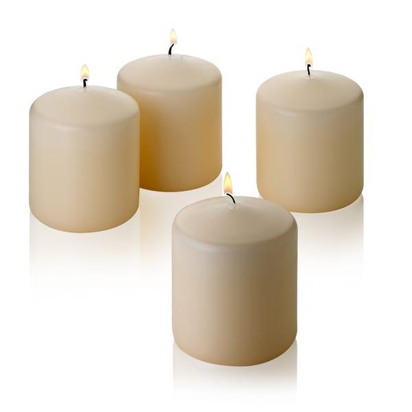 Four Vanilla Unscented Pillar Candles