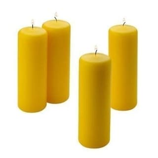 Yellow Citronella Scented Pillar Candles with Burn Time of 36 Hours (Set of 4)