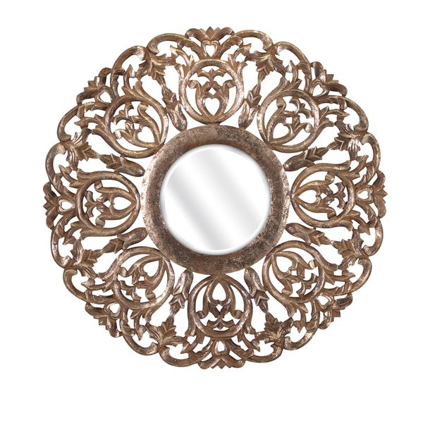 "Warman Carved Wood Mirror (30""d x 1"")"