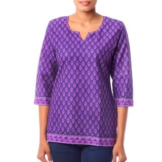 Women's Purple Floral Pattern Cotton 'Radiant Orchid Blossom' Tunic (India)