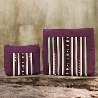 Set of 2 Cotton Blend 'Exotic Lisu in Wine' Cosmetic Bags (Thailand)